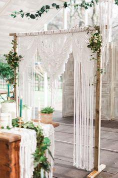 Backdrop Frame Botanical Macrame Glass House Wedding Ideas Jo Bradbury Photography Photography is in fact Wedding Props, Wedding Frames, Boho Wedding, Wedding Ideas, Wedding Backdrops, Ceremony Backdrop, Wedding Backdrop Photobooth, Wedding House, Outdoor Ceremony