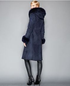The Fur Vault Toscana Shearling Hooded Wrap Coat - Coats - Women - Macy's - If I lived somewhere colder