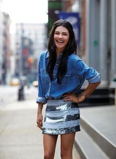 Denim + shimmery stripes...LOVE this skirt!!  :)