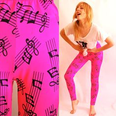Neon Pink Piano Note pattern Leggings ALL SIZES by coyotepeyote, $65.00