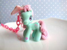 Japan Kawaii Gyaru Harajuku Zipper Style Pink Fairy Kei Ribbon Bow, Pink Plastic Chain My Little Pony Necklace. $32.00, via Etsy.