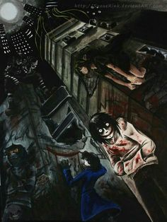 Left to right: Ticci Toby, Laughing Jack, The Bloody Painter, Jeff the Killer and BEN Drowned. On top of a building: The Puppeteer and in the top right corner of the building: lost silver Creepypasta Ticci Toby, Scary Creepypasta, Creepypasta Proxy, Creepypasta Quotes, Laughing Jack, Jeff The Killer, Familia Creepy Pasta, Creepy Pasta Family, Ben Drowned
