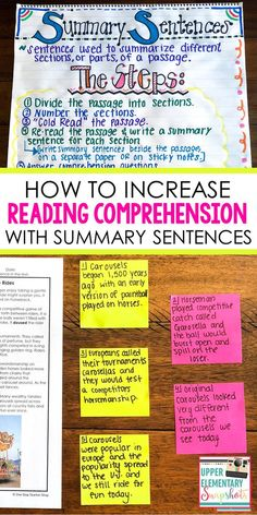 Increase reading comprehension by using summary sentences. This reading strategy helps students break down reading passages so that they can fully understand a text. Grab some Free Reading Passages with Text Dependent Questions while you read the post. High School Reading, 6th Grade Reading, Reading Test, Reading Intervention, Reading Lessons, Reading Workshop, Reading Skills, Teaching Reading, Free Reading