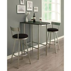 @Overstock - Materials: Metal, faux marble top  Finish: Charcoal, metal charcoal, faux marble  Space saving bar tophttp://www.overstock.com/Home-Garden/Black-Silver-Metal-Space-saver-Bar-Table/6304987/product.html?CID=214117 $89.99