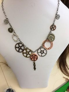 Steampunk Necklace Cogs and gears Gunmetal Chain Clock hand
