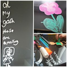 chalkola chalk markers review drawings of flowers a people on a glass table top