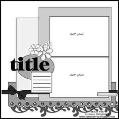 12X12 Scrapbook Layout Sketches | Sketch #56 12x12