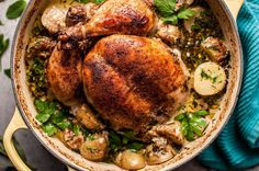 This creamy lemon and herb pot roasted whole chicken is simple to make, decadent, and bursting with fresh flavors. The addition of little potatoes makes it a fantastic one pot meal that makes great leftovers!