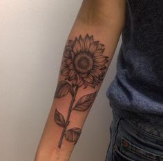 black and gray sunflower tattoo