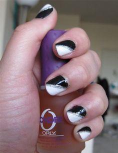 Black, white & silver manicure