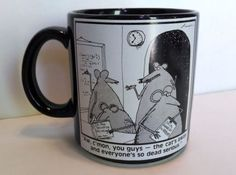 Far-Side-Mug-By-Gary-Larson-Mice-The-Cats-away-and-everyones-so-dead-serious