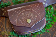 LeAthEr floWer BeLt bAg - one of a kind hand tooled, sewn and painted mahogany mandala - handmade