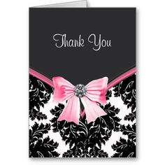 Black Pink Music Speaker Personalized Party Thank You Cards