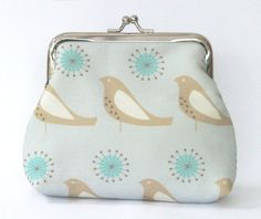 Songbird Coin Purse in Pale Blue by LouiseBrainwood on Etsy, £20.00