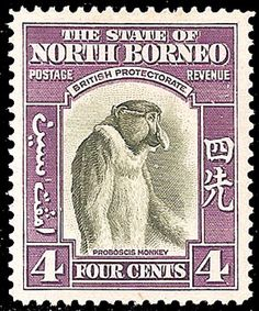 Why I collect stamps reason #12: Proboscis monkey or Jimmy Durante? You be the judge.
