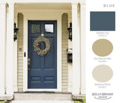 exterior door color for small tan house Front Door Paint Colors, Painted Front Doors, Exterior Paint Colors For House, Paint Colors For Home, Beige House Exterior, Blue Front Doors, House Shutter Colors, Front Entry, Garage Door Colors