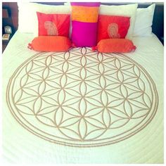 Flower of Life Hand Painted Crystal - Infused Quilt Interior Design Inspiration, Interior Ideas, Flower Of Life, Geometric Art, Sacred Geometry, White Flowers, Quilt Patterns, Hand Painted, Furniture