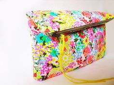 Neon Clutch ,Fabric, Neon colors, Flower pattern.