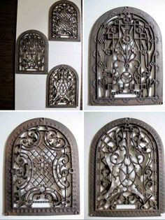 Cast iron grate used as wall art. Nice, but how would you hang it? Toggle bolt maybe? Iron Wall Art, Door Table, Indian Doors, Iron Work, Cast Iron, Black And White, Antiques, Decorating Ideas, Windows