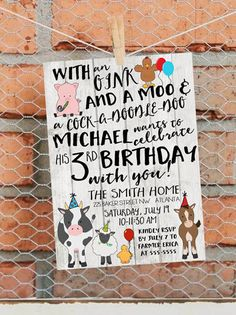 Farm Birthday Invitation Farm Birthday by LibertyAndLilacPaper More