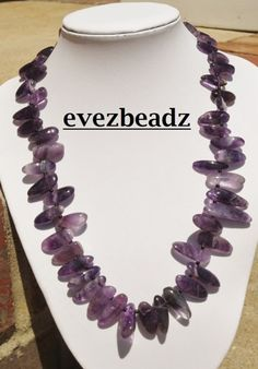 Purple Amethyst Gemstone Stick Bead Necklace | evezbeadz - Jewelry on ArtFire