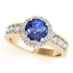 .78ct Round Tanzanite Ring With .4ctw Diamonds in 14k Yellow Gold
