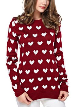 Heart Pattern Red Sweater