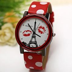 $3.94 WoMaGe Quartz Watch Diamond Dots Indicate Leather Watch Band for Women - Red