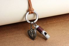 Retro Cross Shield Whistle Cowhide Men's Necklace,free shipping,looback,looback,com ,$11.50