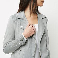 Light grey faux suede biker jacket Vestes D hiver Femme, Manteaux Pour  Femmes, d333d23eb192