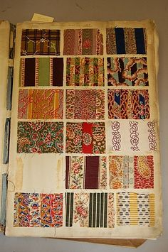 These colorful fabrics are printed *wool* samples from the pioneer era. Take a look at some of the great colors and designs for women's dresses! Two books of printed wools, 1840s-50s, the first : Lot 2260
