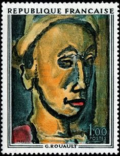 """The Dreamer,"" or ""The Visionary"",  1946 by Georges Henri Rouault (1871-1958),   engraved by Robert Cami, and issued by France on June 7, 1971 to commemorate Rouault's birth centenary,"