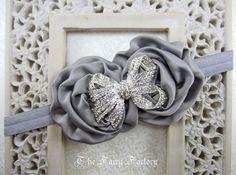 Silver Gray Flower Headband, Gray Satin Rosette Duo w/ Rhinestone Bow Headband, Flower Girl Wedding, Baby Toddler Child Girls Headband. $9.95, via Etsy.