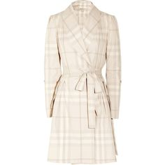 Cream and light-taupe checked cotton Puffed sleeves, pleated back, button-fastening tabs at cuffs, button-fastening front pockets, belt loops Ties to fasten cotton Machine wash Designer color: Nude Burberry Plaid, Velvet Fashion, White Outfits, Summer Outfits, Lingerie Sleepwear, Sweater Jacket, Women's Fashion Dresses, Tartan, Lounge Wear