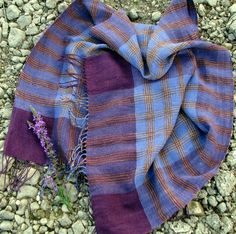 Handwoven Linen Flax Scarf Shawl Purple Chess by AMIZANTI on Etsy