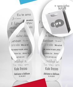 Kit Chinelo + Kraft ( mínimo 50 pares )  - Pé de Noiva Chinelos Personalizados