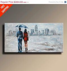 ON SALE FIRST 10  Large Original Rain Day Couple by EmericoFineArt, $354.60