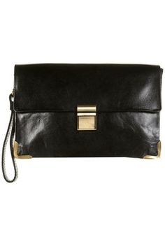 Black Clean Lock Clutch Bag - Bags & Purses - Accessories - Topshop USA - StyleSays