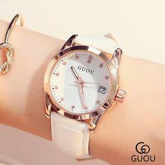 Dámské hodinky GUOU 2017 Nová módní značka kožená řemínek Diamond Quartz dámské  dámské šaty hodinky Žena Casual hodinky 6103f2da16