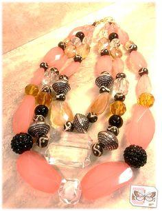3 Strand bulky statement necklace