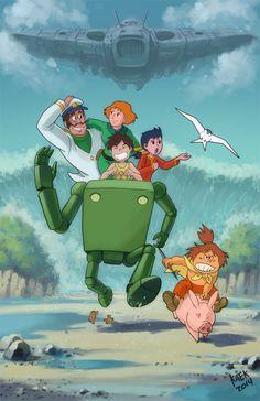 Risultati immagini per hayao miyazaki conan the future boy: the big giant robot's resurrection Old Cartoons, Classic Cartoons, Hayao Miyazaki, Manga Art, Anime Manga, Disney Art, Disney Pixar, Barbie Coloring Pages, Robot Cartoon