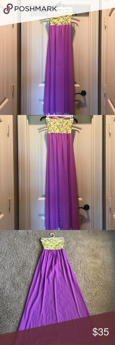 Gorgeous Bright Purple & yellow floral tube dress With built-in slip for the sheer part. Has a built-in bra too. Sweetheart neckline. I ordered it from a well known online boutique. I wore it for probably 2 hours total on Easter last year and then changed after lunch. I received many compliments. It's very flattering!! The last photo shows dark spots in the sheer part bc I put the dress on right after I put lotion on... Don't do that lol. Those came out after I washed it. Dottie Couture…