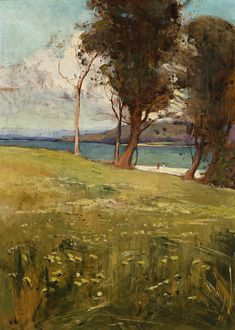 .:. Sydney Long (Australian, 1871-1955) Pastoral Idyll, c.1908. Oil on wood panel.