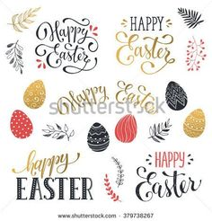 Hand written Easter phrases in red and gold. Greeting card text templates with Easter eggs isolated on white background. Happy easter lettering modern calligraphy style.