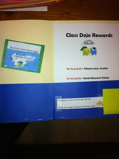 Folders for the students classwork to keep examples of students work. Includes Class Dojo points and rewards.