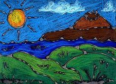 glue and pastel/art stix landscapes