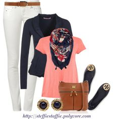 """Navy, Coral & Floral Scarf"" by steffiestaffie on Polyvore"