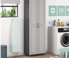 Outfit any room with added storage space with the System Build Ross storage cabinet. The water-resistant gray finish is easy to clean allow it to be used anywhere. The interior features five shelves, three of which are adjustable, you can customize for both small and large items. Store and organize anything from office supplies to cleaning supplies and even kitchen pantry items. Soft close hinges are adjustable and prevent slamming doors. The adjustable feet make keeping your Cabinet level on un Utility Storage Cabinet, Door Storage, Locker Storage, Pantry Storage, Extra Storage Space, Storage Spaces, Entryway Cabinet, Laminated Mdf, Grey Room