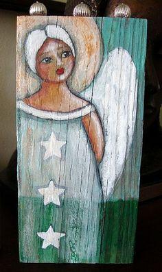 FOLK ART WHITE ANGEL w STARS ON WOOD