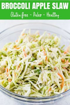 Broccoli Apple Slaw with Crunchy shredded Broccoli, carrots, apples, green onions and a delicious creamy dressing you'll LOVE! | www.noshtastic.com | #coleslaw #slaw #broccolislaw ##broccoliappleslaw #broccoli #paleo #paleosides #glutenfree #noshtastic #glutenfreerecipe